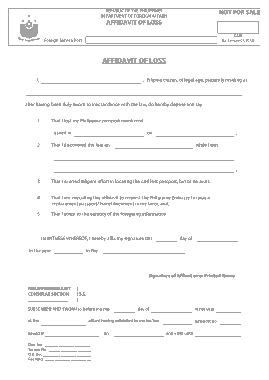 Free Download PDF Books, Affidavit Of Loss Blank Form Template