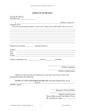 Free Download PDF Books, Affidavit Of Identity Form Template