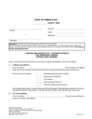 Court Counter Affidavit Form Template