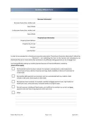 Hardship Affidavit Housing Form Template