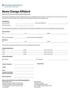 Name Change Affidavit Form Template