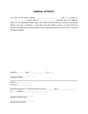 Free Download PDF Books, General Sworn Affidavit Form Template