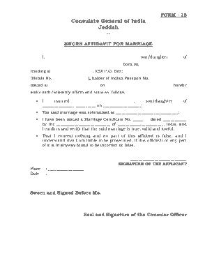 Free Download PDF Books, Sworn Affidavit Form For Marriage Template