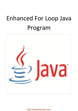 Enhanced For Loop Java Program
