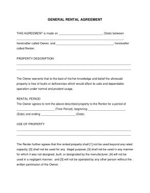 Printable Rental Agreement Form Template