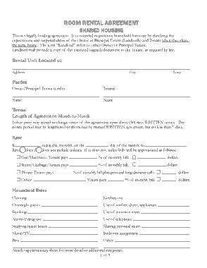 Sample Room Rental Agreement Form Template
