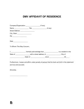 Free Download PDF Books, DMV Affidavit Of Residence Letter Form Template