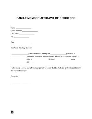 Free Download PDF Books, Family Member Affidavit Of Residence Letter Form Template