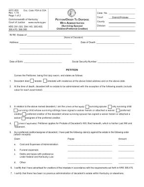 Free Download PDF Books, Kentucky Small Estate Affidavit Petition Form Template