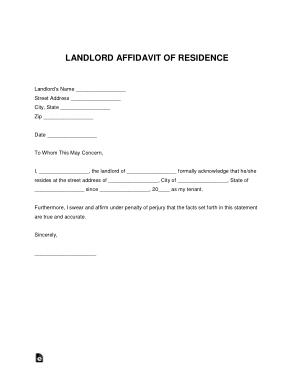 Free Download PDF Books, Landlord Affidavit Of Residence Letter Form Template