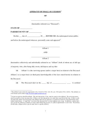 Free Download PDF Books, Louisiana Small Estate Affidavit Form Template