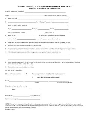 Free Download PDF Books, Minnesota Small Estate Affidavit Form Template