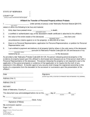 Free Download PDF Books, Nebraska Small Estate Affidavit Personal Property Form Template