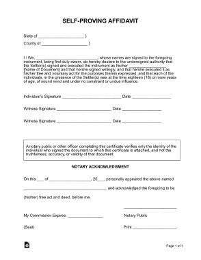 Self Proving Affidavit Form Template