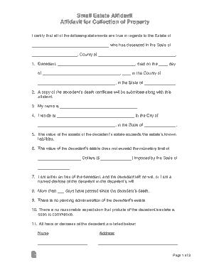 Free Download PDF Books, Small Estate Affidavit Form Template