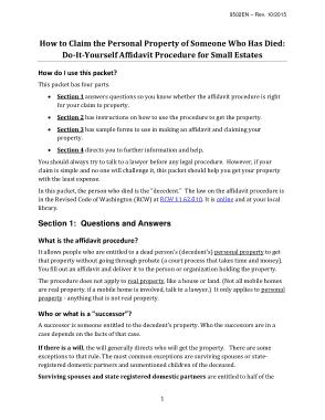 Free Download PDF Books, Washington Small Estate Affidavit Form