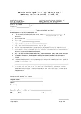 Free Download PDF Books, Wyoming Small Estate Affidavit Form Template