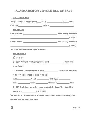 Free Download PDF Books, Alaska Motor Vehicle Bill of Sale Form Template