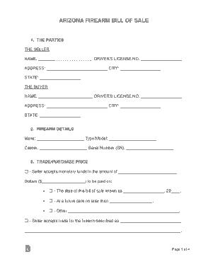 Free Download PDF Books, Arizona Firearm Bill of Sale Form Template