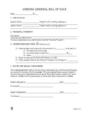 Free Download PDF Books, Arizona General Bill of Sale Form Template