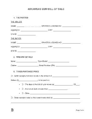 Free Download PDF Books, Arkansas Gun Bill of Sale Form Template