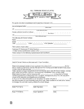 Free Download PDF Books, ATV Bill of Sale Form Template