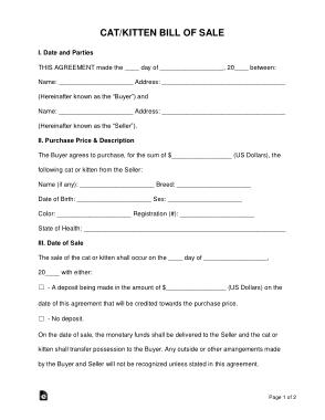 Free Download PDF Books, Cat Kitten Bill of Sale Form Template