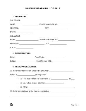 Free Download PDF Books, Hawaii Firearm Bill of Sale Form Template