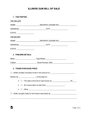 Free Download PDF Books, Illinois Gun Bill of Sale Form Template