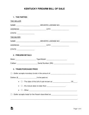 Free Download PDF Books, Kentucky Firearm Bill of Sale Form Template