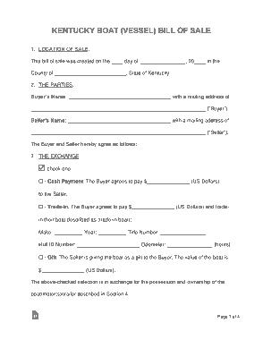 Free Download PDF Books, Kentucky Vessel Bill of Sale Form Template