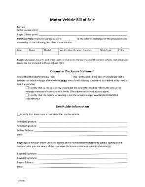 Maine Gov Dmv Bill of Sale Form Template