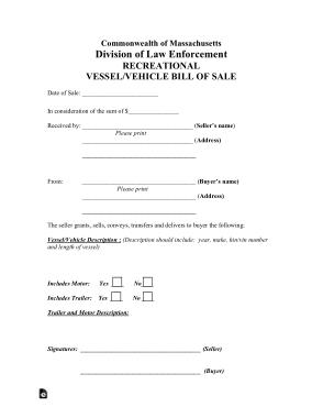 Free Download PDF Books, Massachusetts Vehicle Vessel Bill of Sale Form Template