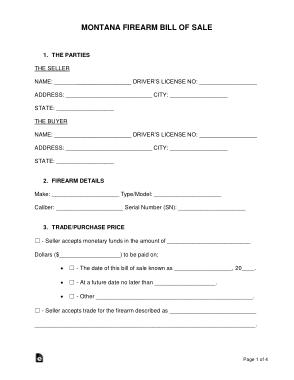 Free Download PDF Books, Montana Firearm Bill of Sale Form Template