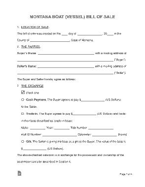 Free Download PDF Books, Montana Vessel Bill of Sale Form Template