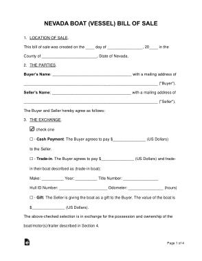 Free Download PDF Books, Nevada Vessel Bill of Sale Form Template