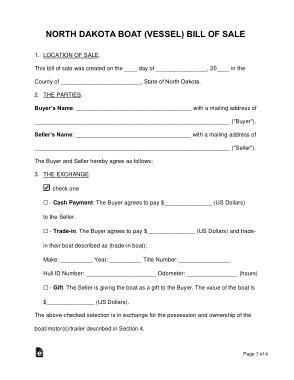 North Dakota Boat Bill of Sale Form Template