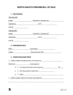 Free Download PDF Books, North Dakota Firearm Bill of Sale Form Template