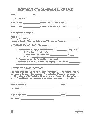 Free Download PDF Books, North Dakota General Personal Property Bill of Sale Form Template