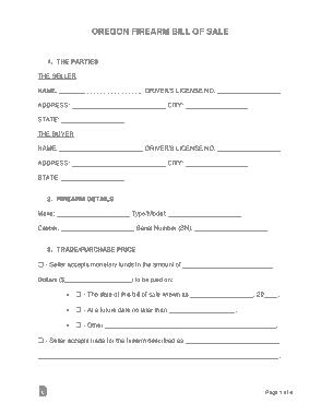 Free Download PDF Books, Oregon Firearm Bill of Sale Form Template