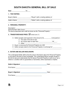 Free Download PDF Books, South Dakota General Personal Property Bill of Sale Form Template