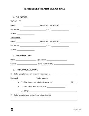 Free Download PDF Books, Tennessee Firearm Bill of Sale Form Template
