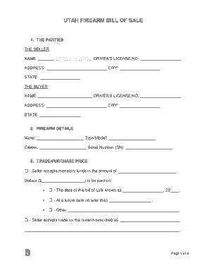 Free Download PDF Books, Utah Firearm Bill of Sale Form Template