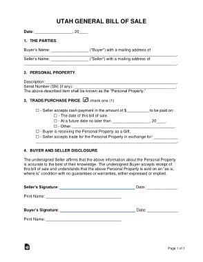 Free Download PDF Books, Utah General Personal Property Bill of Sale Form Template