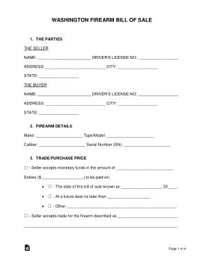 Free Download PDF Books, Washington Firearm Bill of Sale Form Template