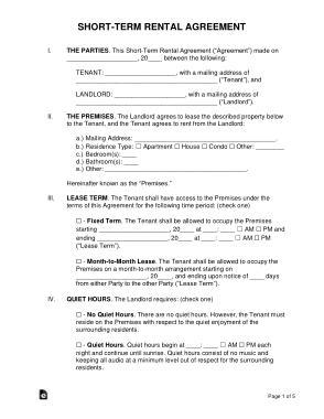 Short Term Rental Agreement Form Template