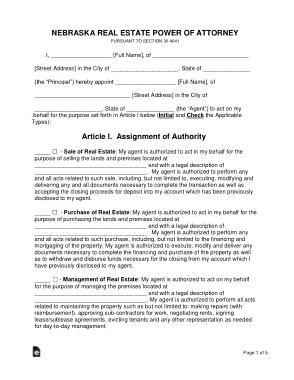 Free Download PDF Books, Nebraska Real Estate Power Of Attorney Form Template