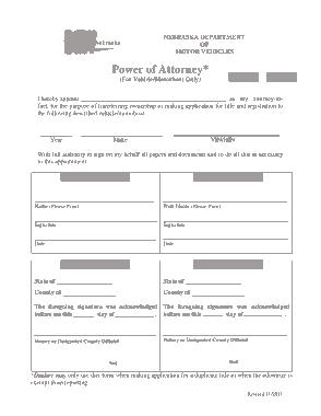 Free Download PDF Books, Nebraska Motor Vehicle Power Of Attorney Form Template