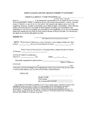 Free Download PDF Books, North Dakota Vehicle Power Of Attorney Form Template