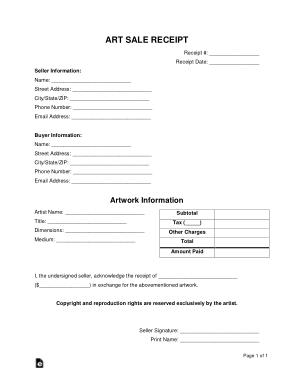 Free Download PDF Books, Art Sale Receipt Form Template